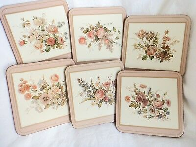 Pimpernel Coasters Set of 6 original box Floral Bouquet pattern Made in England