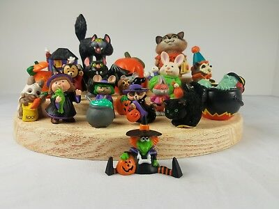 20 Halloween Hallmark Merry Miniatures Split Witch Flocked Black Cat Raccoon