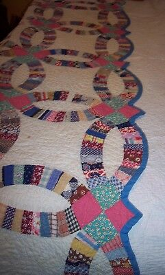 """Vintage Wedding Ring Quilt Double Ring Vintage Material- Feedsack  85"""" X 74"""""""