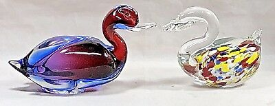 2 hand blown art glass birds. One duck. One Swan. Excellent condition.