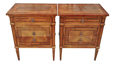 Museum PAIR Italian ROSEWOOD INLAID Walnut Night Stands Commode Side TABLE