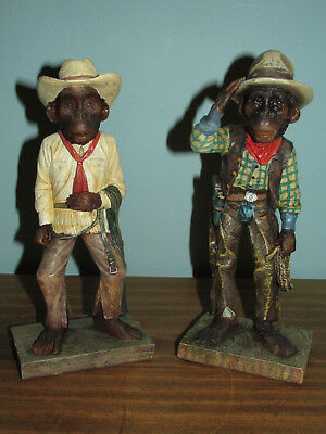 "Vintage Lot 2 MayRich Company COWBOY MONKEY Figurines Statues Resin 8"" Western"