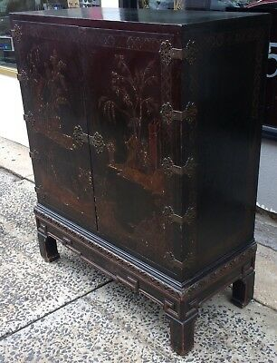 XL ANTIQUE Two Door CHINESE ASIAN Hand Painted CABINET Fitted Chest ARMOIRE Kaas