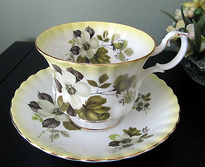 Vintage Royal Albert Cup and Saucer White Blossoms and Green Roses