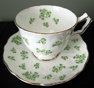 Vintage Aynsley Cup and Saucer White with Shamrocks
