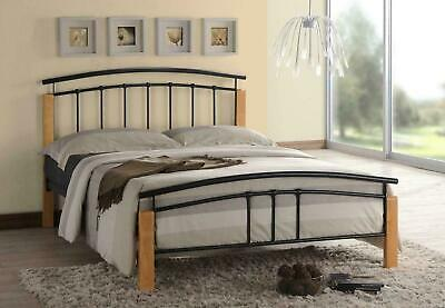 Tetras Black Metal Bed Frame Modern Beech Wooden Single Double King Size