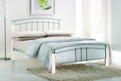 Tetras Silver Metal Bed Frame Modern White Wooden Single Double King Size