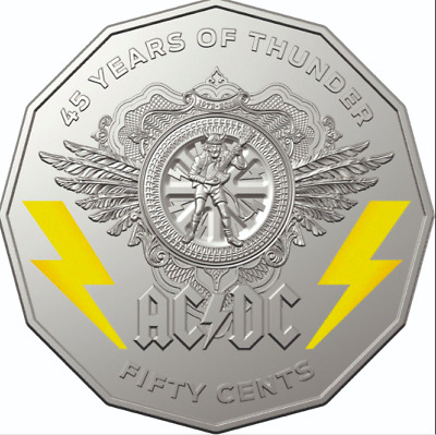 ⚡️AC/DC 50c cent coin Mint Carded 45 YEARS OF THUNDER + AC/DC GUITAR PLECTRUM ⚡️