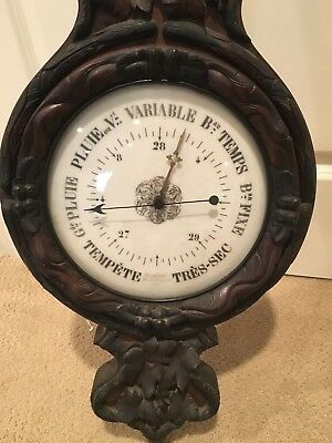 Antique French wall barometer thermometer carved wood  Fournie Fab