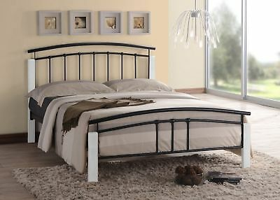 Tetras Black Metal Bed Frame Modern White Wooden Single Double King Size