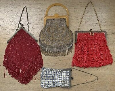 Lot Of 4 Antique Mesh & Beaded Evening Bags Purses Victorian Micro-beading