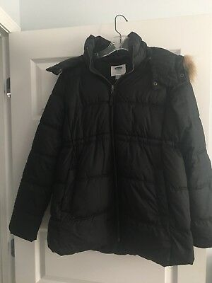 OLD NAVY Maternity Long-Line Hooded Frost Free Puffer Jacket Coat Medium