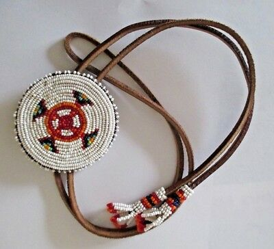 Vintage Native American Indian Beaded Leather Rosette Necklace
