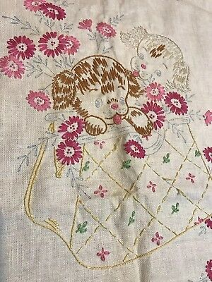 Vintage Stamped Linen Embroidery Runner Puppies Purse STARTED Incomplete 40x15