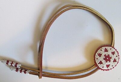 Old Native American Indian Beaded Leather Rosette Necklace