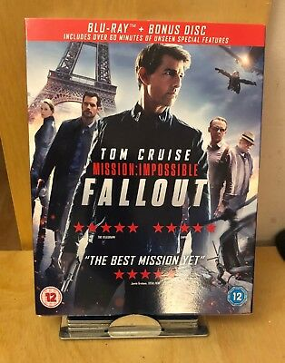 Mission Impossible Fallout Blu Ray & Bonus Disc Tom Cruise New Sealed With Cover
