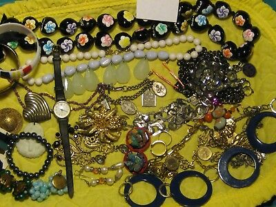 #110 antique and vintage to now lot lbs.,wearable  fine,  costume  20+ items