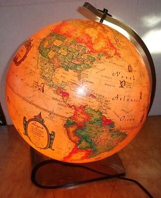 Vintage Lighted World Discoverer Scan-Globe on Lucite Stand