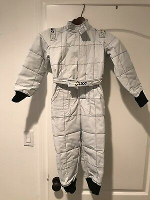 Sparco/Lico  Go Kart Racing Suit 2 Layer  Size Youth 120/US Size 8 Silver/white