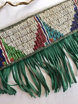 Vtg. Native American Indian Arm Band Sinew Threads Fine Beads / Leather Fringe