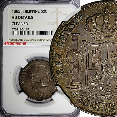 Philippines Alfonso XII Silver 1885 50 Centimos NGC AU DETAILS Light Toned KM150