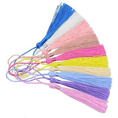100pcs 13cm/5 Inch Silky Floss bookmark Tassels with 2-Inch Cord Loop and Small