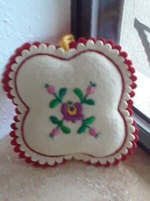 Handmade Hungarian Embroidered on White/Red Felt Pin Cushion 5x5 inch