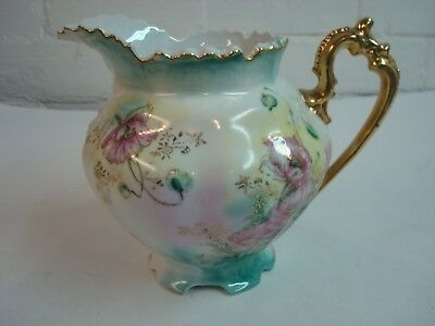 """Vintage Gold Handled Floral Pitcher 6 1/2"""" Tall, 8 1/4"""" spout to handle"""