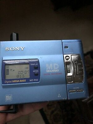 VINTAGE Blue SONY MINIDISC WALKMAN RECORDER Portable MODEL MZ-R50 Rare! MD NR!!