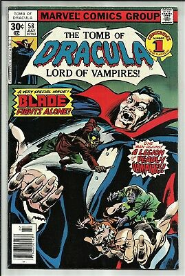 The Tomb Of Dracula #58 1977 A Very Special Issue! Blade Fights Alone! Sharp Fn+