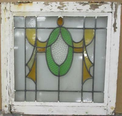 "OLD ENGLISH LEADED STAINED GLASS WINDOW Pretty Swag Design 21.25"" x 20.5"""