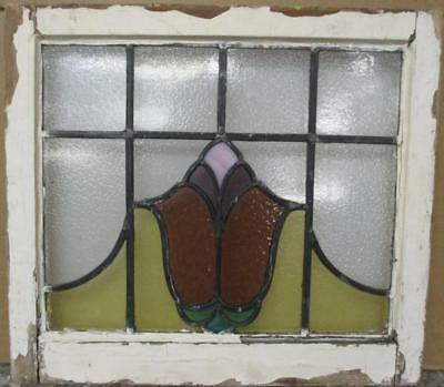 "OLD ENGLISH LEADED STAINED GLASS WINDOW Gorgeous Abstract Design 22"" x 19.75"""