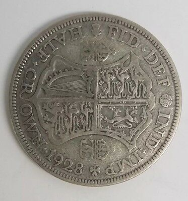 1928 Great Britain UK HALF CROWN Silver Coin King George V