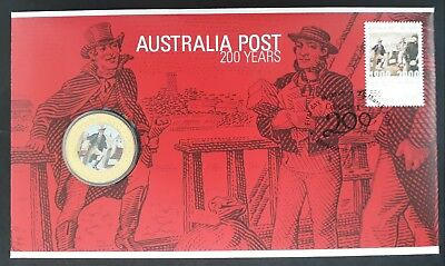 2009 Australia Post 200 Years PNC with UNC $1 Coloured coin and 55c stamp