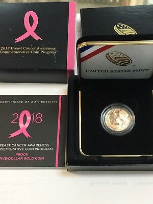 2018-W Breast Cancer Awareness $5 Gold Proof Commemorative Coin (OGP/COA)