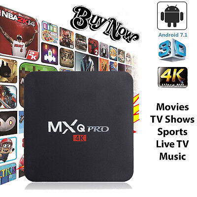 MXQ Pro 4K 3D Smart TV Box Quad Core Android 7.1 1+8G WIFI HDMI USB Media Player