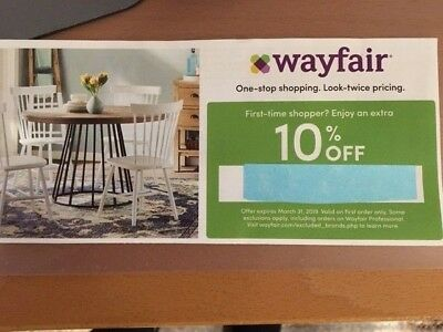 Wayfair 10% OFF ORDER Coupon Discount Code until MARCH 31 2019