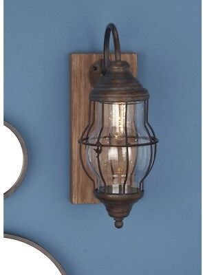 Wall Sconce 17 in. Clear Glass Brown Wood Iron Battery Operated LED Candle Decor