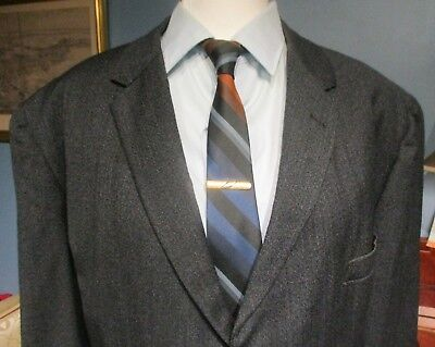 VTG 50s Atomic Red Fleck charcoal gray Sport Coat wool jacket Fifth Ave 46 Long