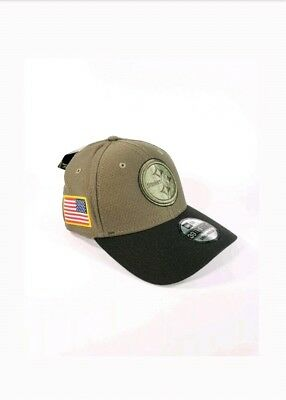 brand new 04b38 1a8e9 NEW ERA Pittsburgh Steelers Salute To Service 39THIRTY Flex Hat S M Olive  Cap