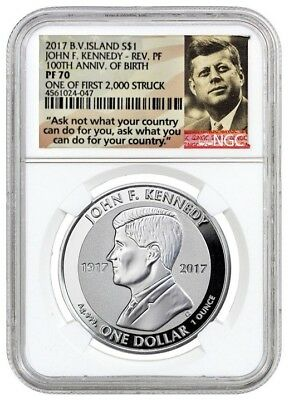 2017 $1 oz Silver Kennedy NGC Reverse Proof  PF 70 1 of FIRST 2000 STRUCK JFK