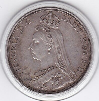 1887   Queen  Victoria Large Crown / Five Shilling Silver  Coin