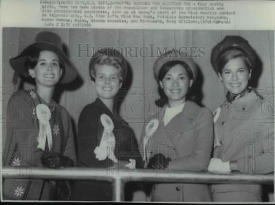 1968 Press Photo Four Miss America contestants line up at today's start
