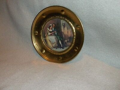Antique Victorian Man & Woman mini Round Portrait in Solid Brass Frame (A94)