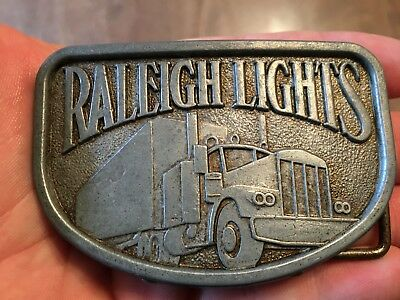 Vintage Raleigh Lights Cigarettes Tobacco Semi Truck Trucking 1970's Belt Buckle