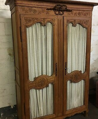 French Armoire Rococo Pine with Clothes Hanging Rail And Lower Storage Shelf !