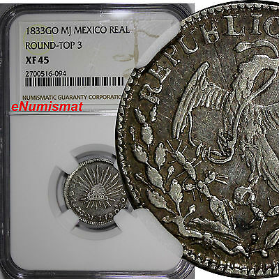 Mexico Silver 1833 GO MJ 1 Real NGC XF45 Round-Top 3 Guanajuato Mint KM# 372.6