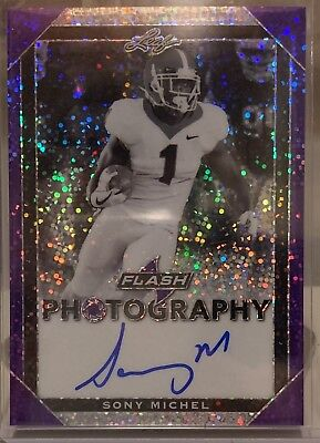 Sony Michel Auto 2018 Leaf Flash Photography /25 New England Patriots Rookie RC