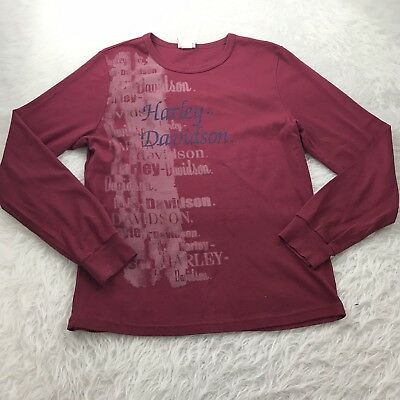 Harley Davidson Long Sleeve T-Shirt Women's XL Red Made in USA Harrisburg, PA