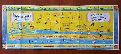 Daytona Beach * 1950's Pictorial Map + Ormond Beach * Holly Hills * Port Orange